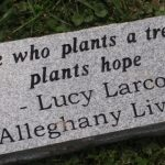 "Stone with a quote ""He who plants a tree, plants hope - Lucy Larcom Alleghany Lives"""